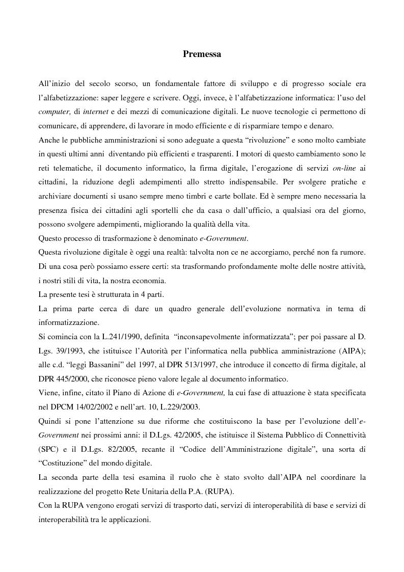 Anteprima della tesi: Il contributo dell'e-government nell'incremento dei servizi resi al cittadino, Pagina 1