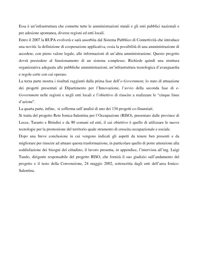 Anteprima della tesi: Il contributo dell'e-government nell'incremento dei servizi resi al cittadino, Pagina 2