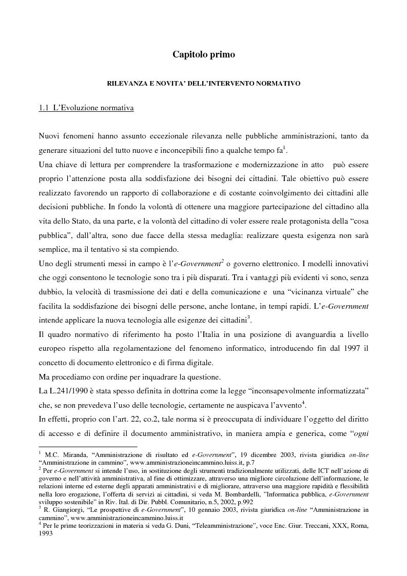 Anteprima della tesi: Il contributo dell'e-government nell'incremento dei servizi resi al cittadino, Pagina 3