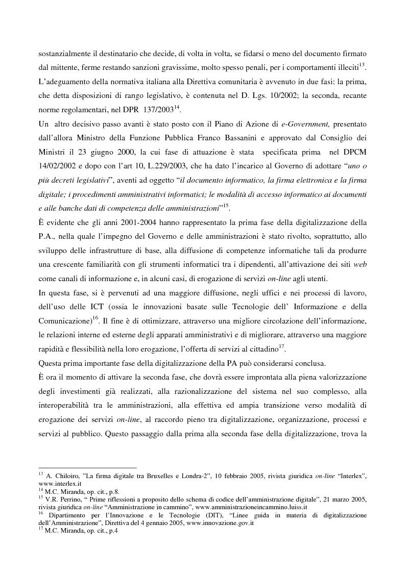 Anteprima della tesi: Il contributo dell'e-government nell'incremento dei servizi resi al cittadino, Pagina 6