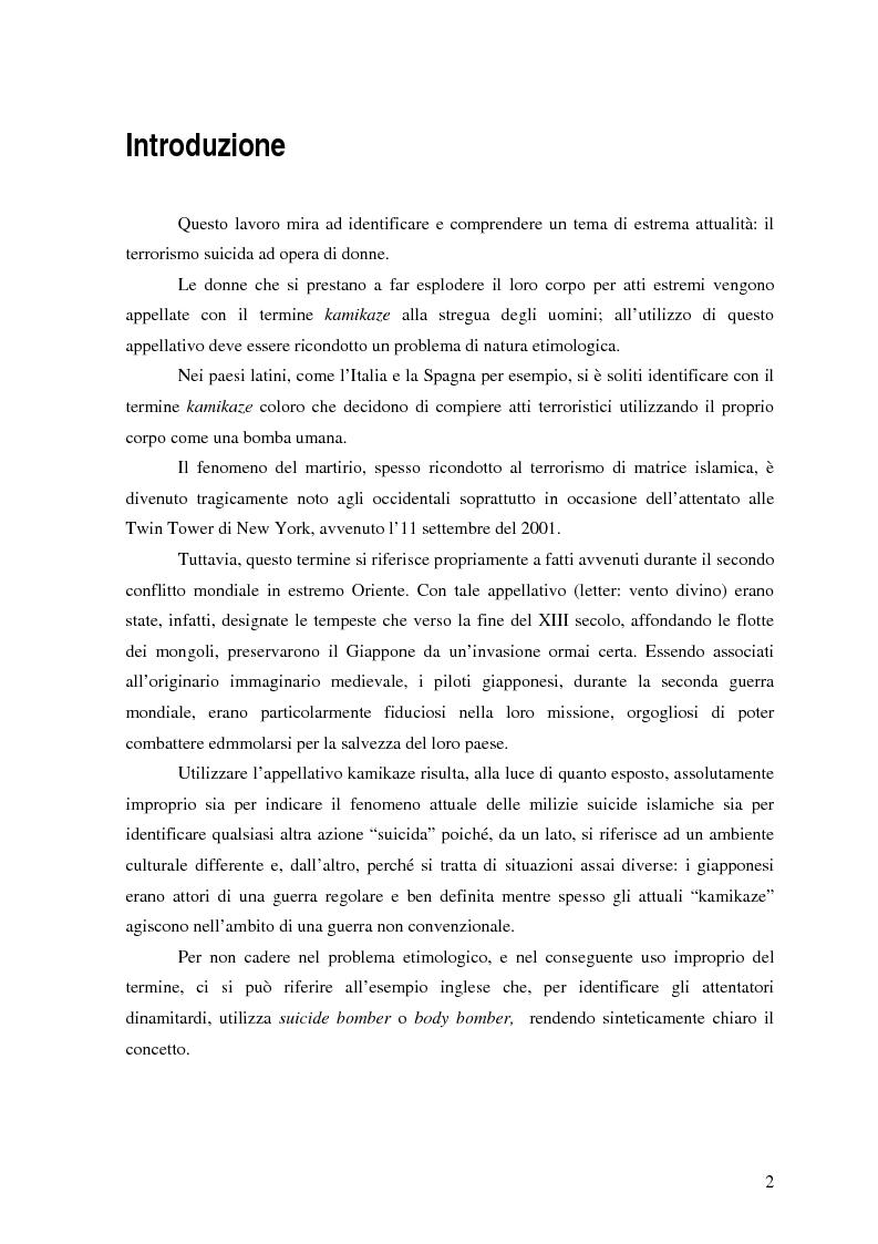 Anteprima della tesi: Terrorismo al femminile: Cecenia e Palestina a confronto, Pagina 1