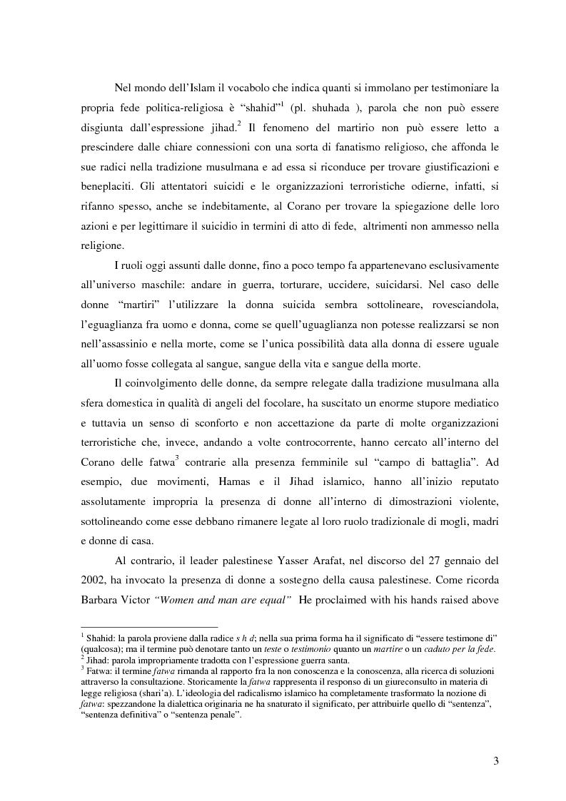 Anteprima della tesi: Terrorismo al femminile: Cecenia e Palestina a confronto, Pagina 2