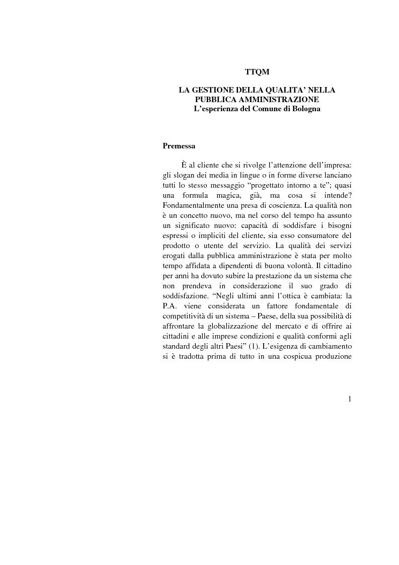 Anteprima della tesi: La Gestione della qualità nella Pubblica Amministrazione - L'esperienza del Comune di Bologna, Pagina 1