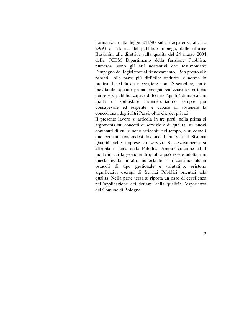 Anteprima della tesi: La Gestione della qualità nella Pubblica Amministrazione - L'esperienza del Comune di Bologna, Pagina 2