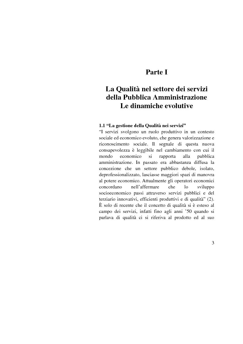 Anteprima della tesi: La Gestione della qualità nella Pubblica Amministrazione - L'esperienza del Comune di Bologna, Pagina 3
