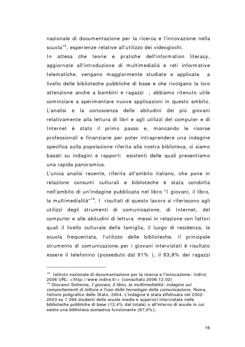 Anteprima della tesi: Biblioteca per gioco: Edutainment per la Biblioteca pubblica, Pagina 14