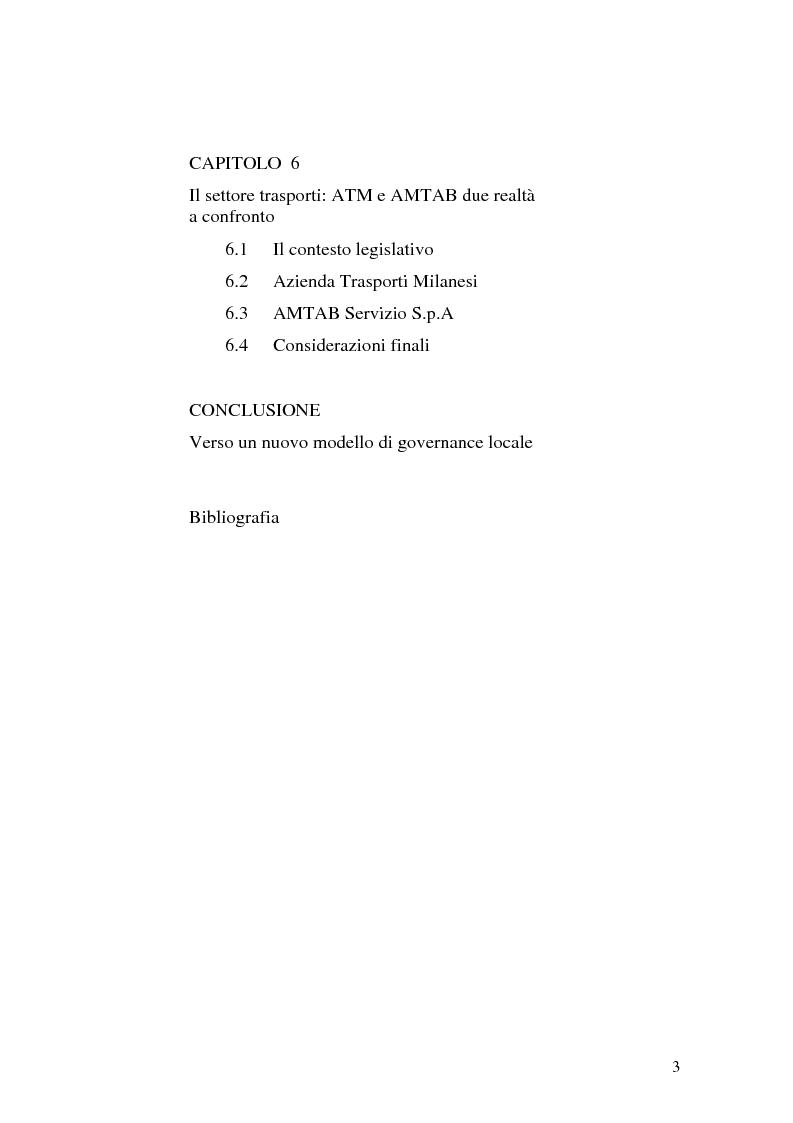Indice della tesi: La governance nei gruppi di interesse locale, Pagina 3