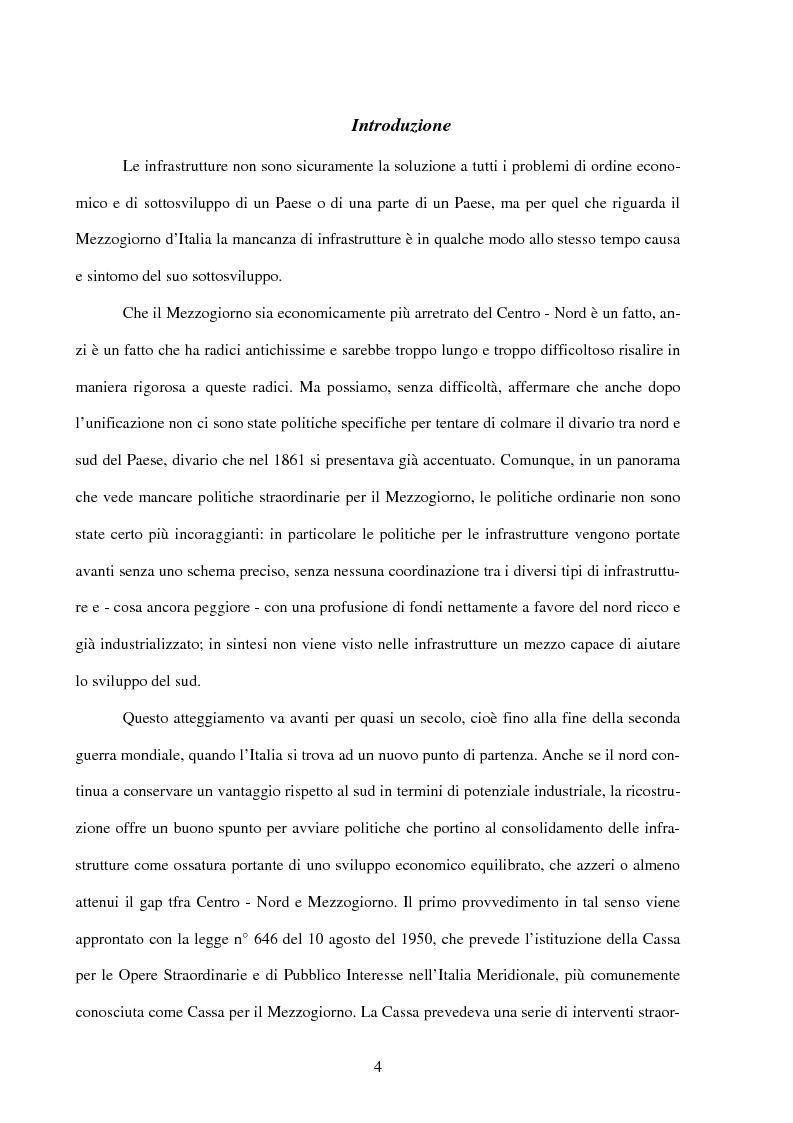 Anteprima della tesi: Politiche infrastrutturali per lo sviluppo economico del Mezzogiorno d'Italia: Teorie ed Effetti, Pagina 1