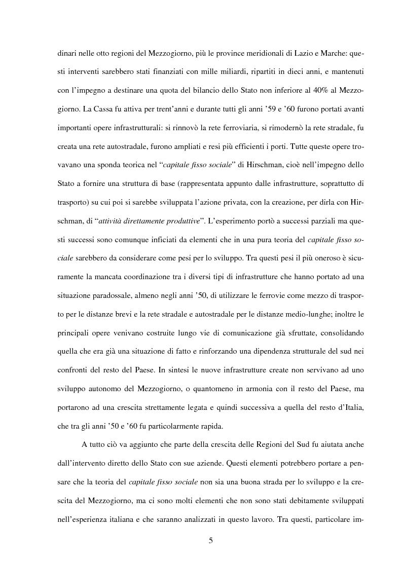 Anteprima della tesi: Politiche infrastrutturali per lo sviluppo economico del Mezzogiorno d'Italia: Teorie ed Effetti, Pagina 2