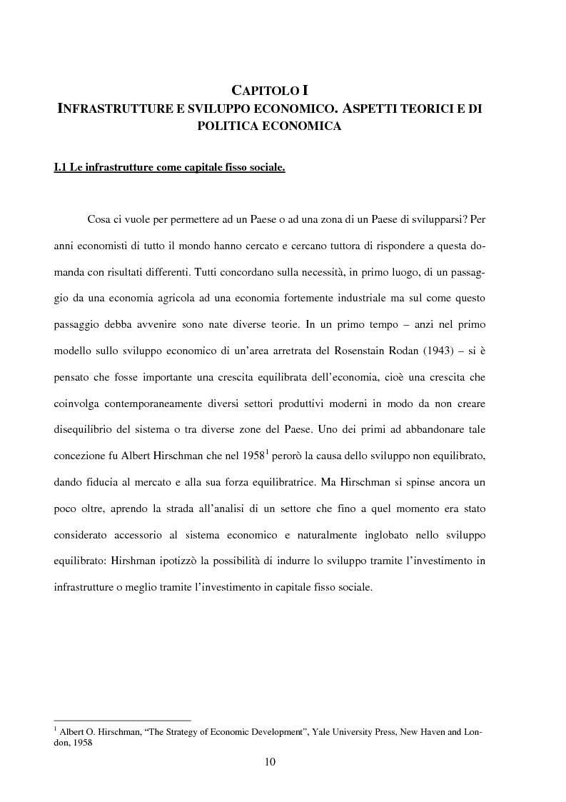 Anteprima della tesi: Politiche infrastrutturali per lo sviluppo economico del Mezzogiorno d'Italia: Teorie ed Effetti, Pagina 7