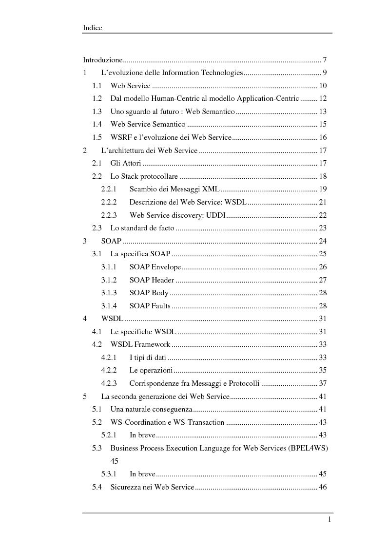 Indice della tesi: WSGRelC un container wsrf in ambiente di griglia, Pagina 1