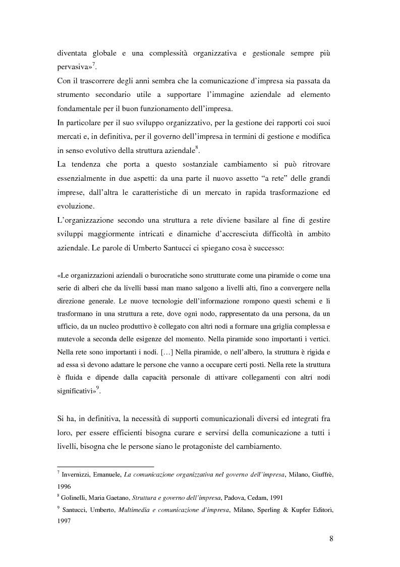 Anteprima della tesi: Evoluzione della comunicazione organizzativa in una Public Utility - il caso Poste Italiane, Pagina 4