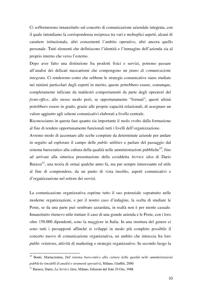 Anteprima della tesi: Evoluzione della comunicazione organizzativa in una Public Utility - il caso Poste Italiane, Pagina 6