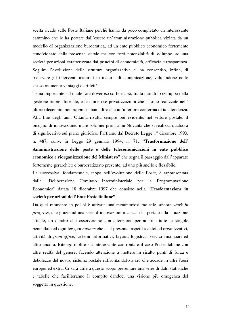 Anteprima della tesi: Evoluzione della comunicazione organizzativa in una Public Utility - il caso Poste Italiane, Pagina 7