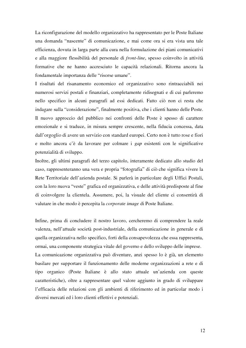 Anteprima della tesi: Evoluzione della comunicazione organizzativa in una Public Utility - il caso Poste Italiane, Pagina 8