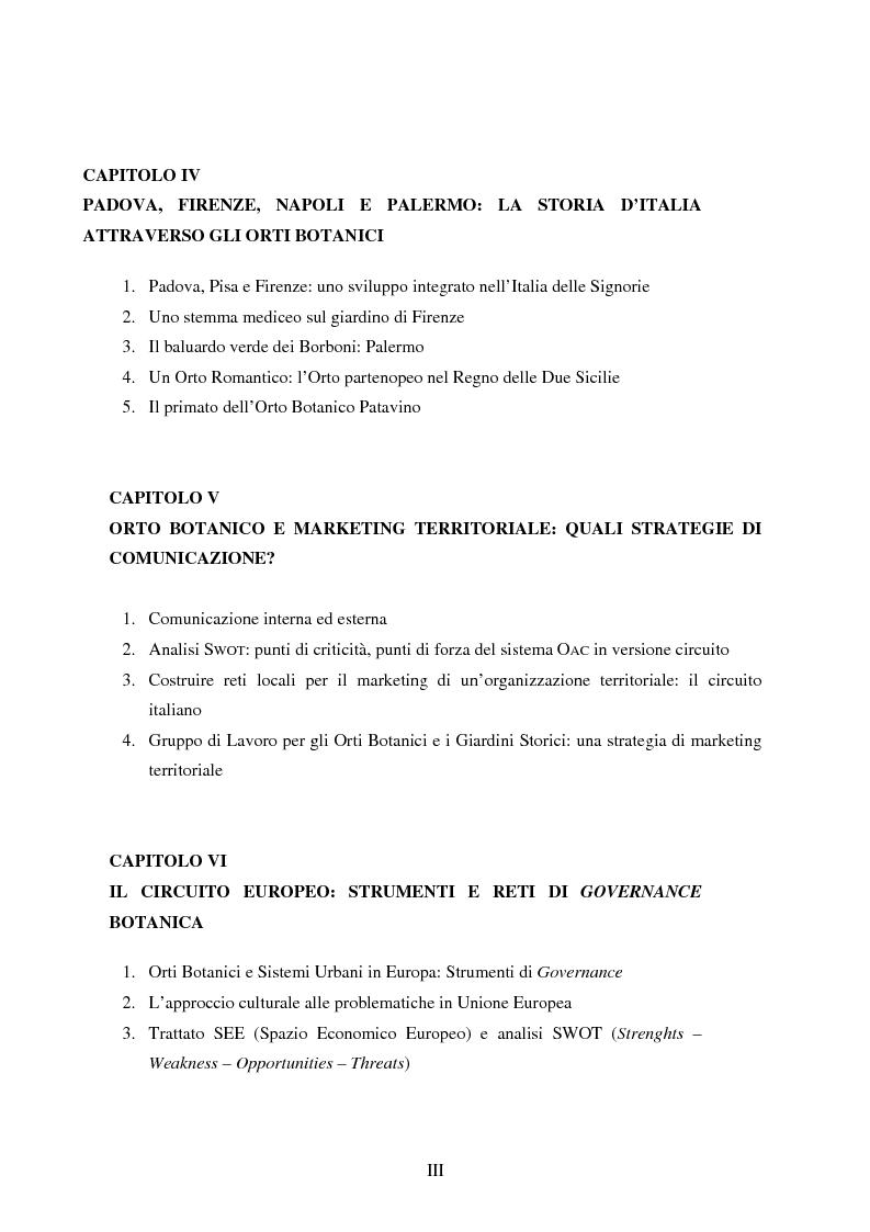 Indice della tesi: L'orto botanico dal locale al globale, Pagina 2