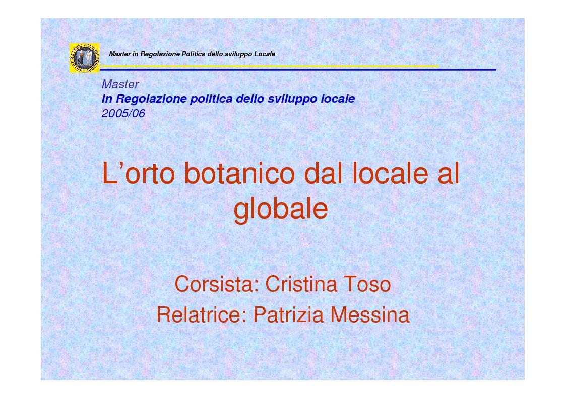 Anteprima della tesi: L'orto botanico dal locale al globale, Pagina 1