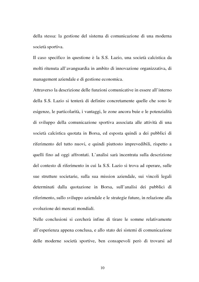 Anteprima della tesi: La gestione dell'area comunicazione e marketing in una moderna società sportiva: il caso S.S. Lazio, Pagina 6