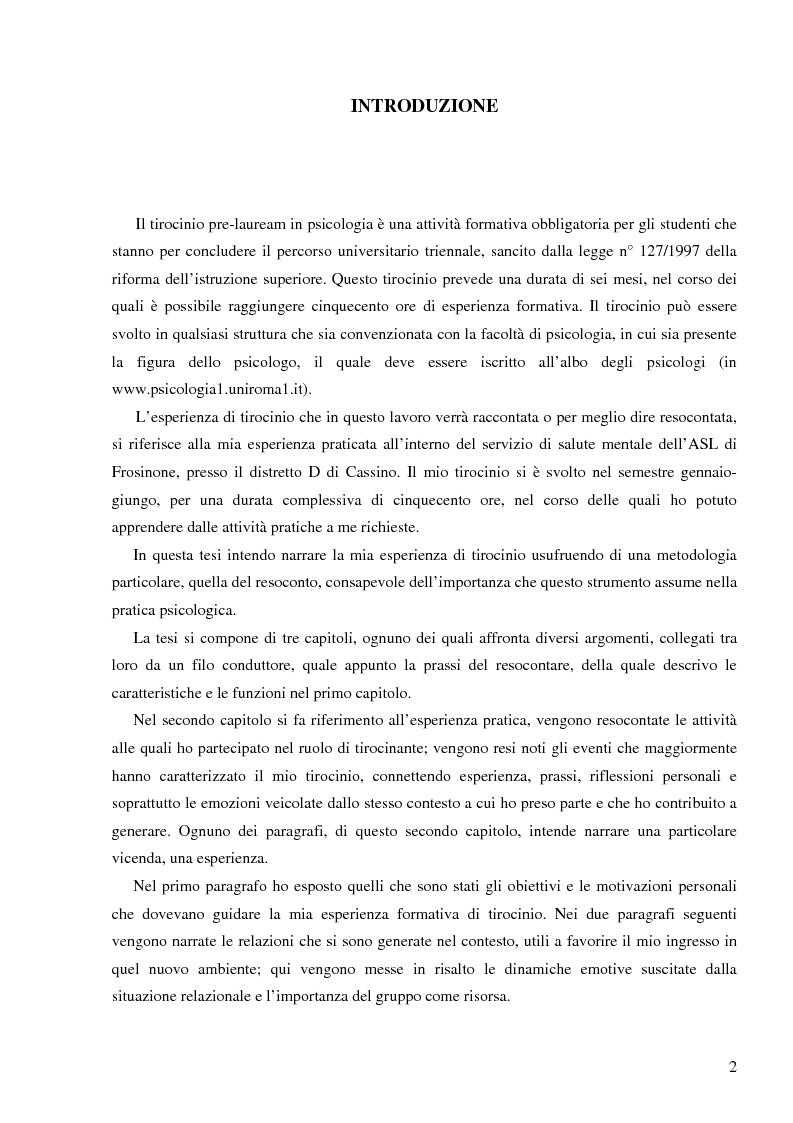 Anteprima della tesi: Resoconto clinico di tiirocinio esperienza nell'ASL di Frosinone, Pagina 1