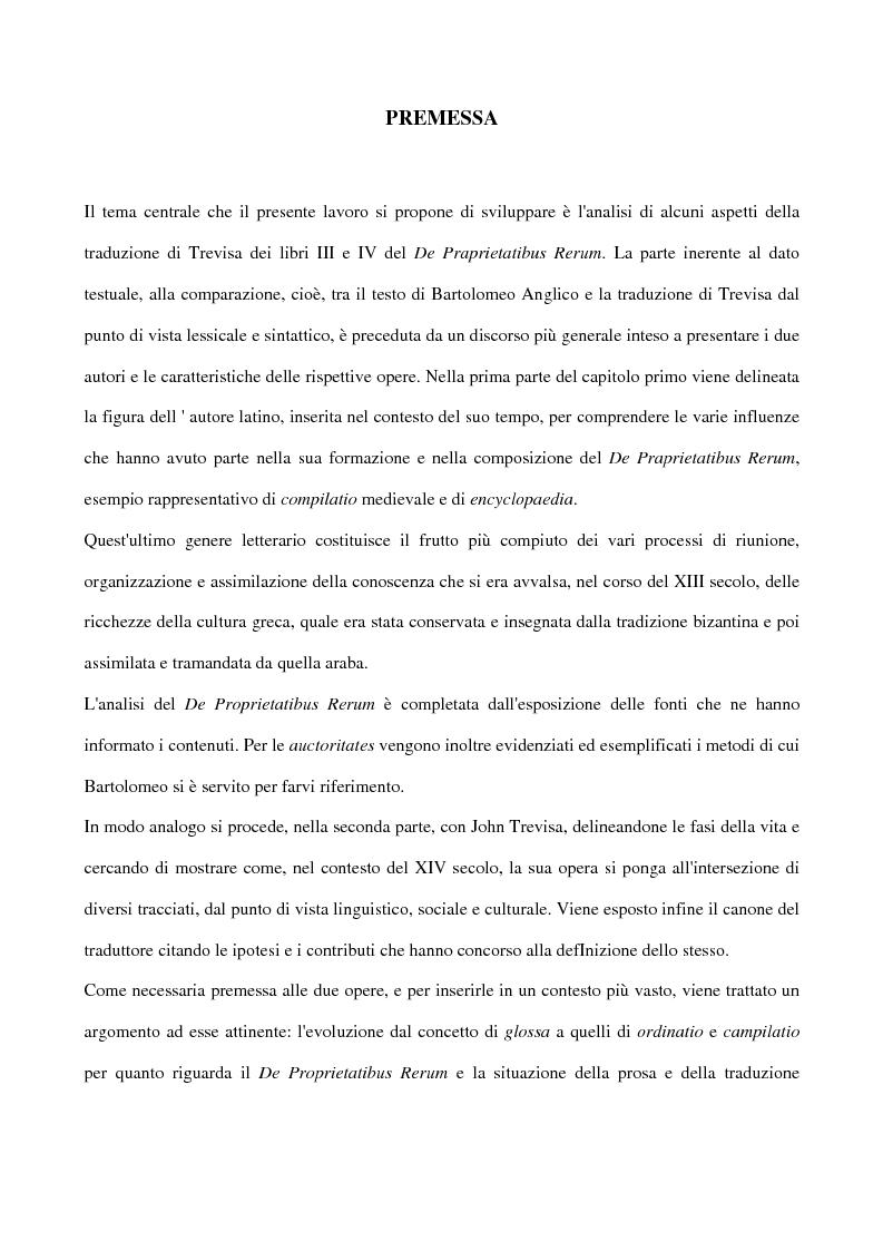 Aspetti della traduzione di John Trevisa del De proprietatibus rerum di Bartolomeo Anglico (libri III e IV) - Tesi di La...