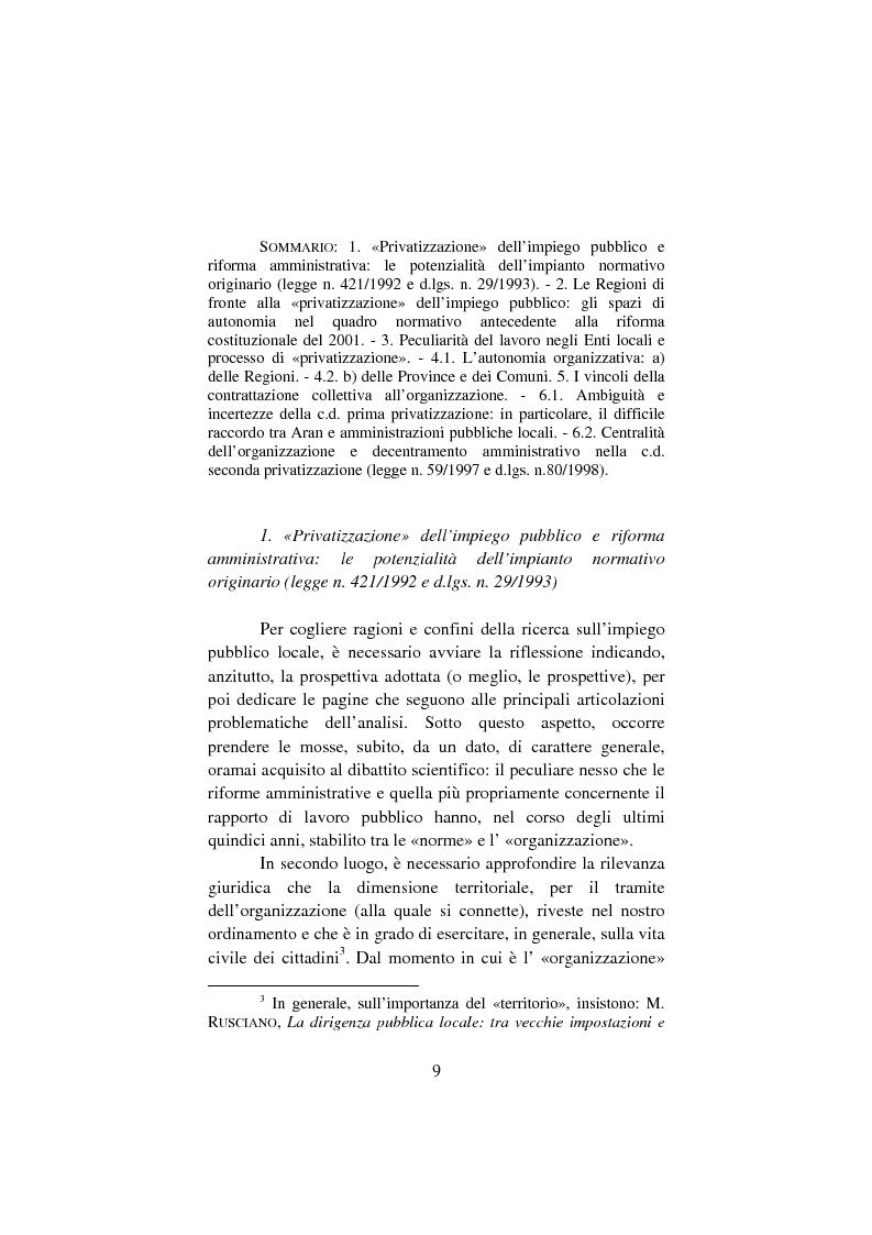 Anteprima della tesi: Il lavoro pubblico locale. Decentramento istituzionale e rapporti ''flessibili''., Pagina 2