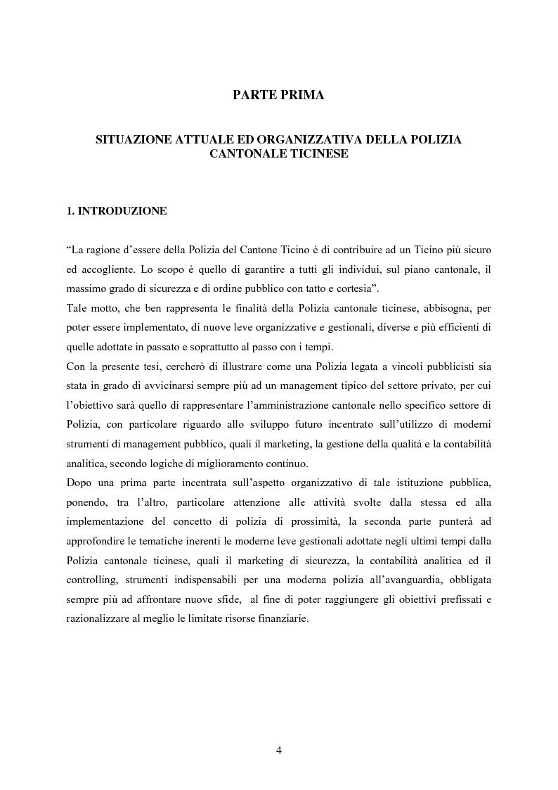 Anteprima della tesi: Polizia cantonale ticinese: organizzazione e prospettive di sviluppo nel processo di cambiamento e miglioramento., Pagina 1