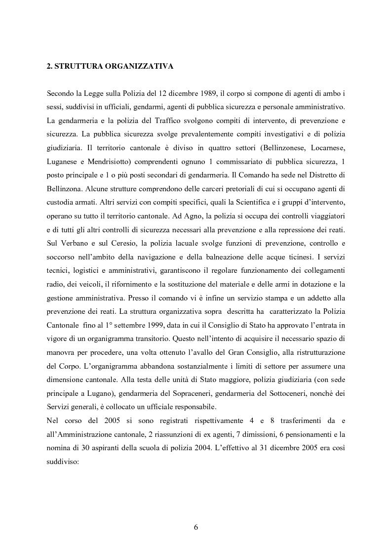 Anteprima della tesi: Polizia cantonale ticinese: organizzazione e prospettive di sviluppo nel processo di cambiamento e miglioramento., Pagina 3
