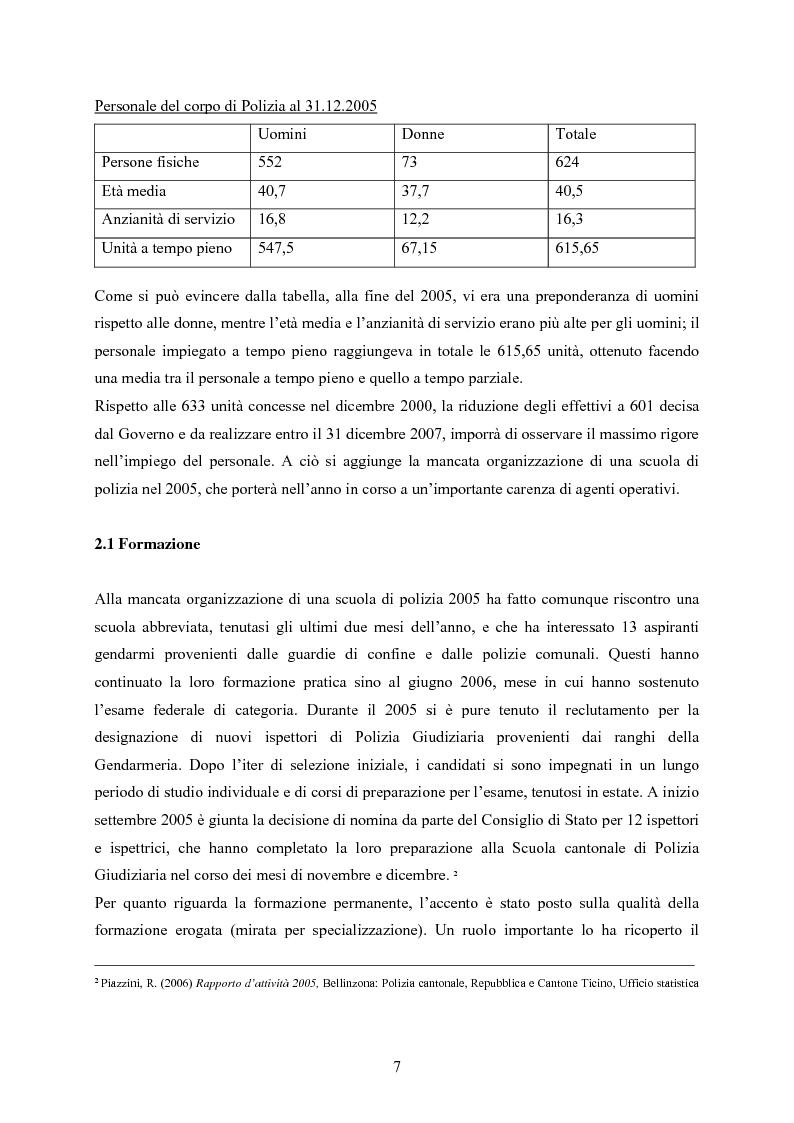 Anteprima della tesi: Polizia cantonale ticinese: organizzazione e prospettive di sviluppo nel processo di cambiamento e miglioramento., Pagina 4