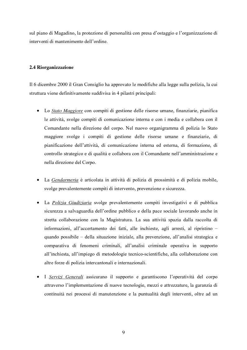 Anteprima della tesi: Polizia cantonale ticinese: organizzazione e prospettive di sviluppo nel processo di cambiamento e miglioramento., Pagina 6