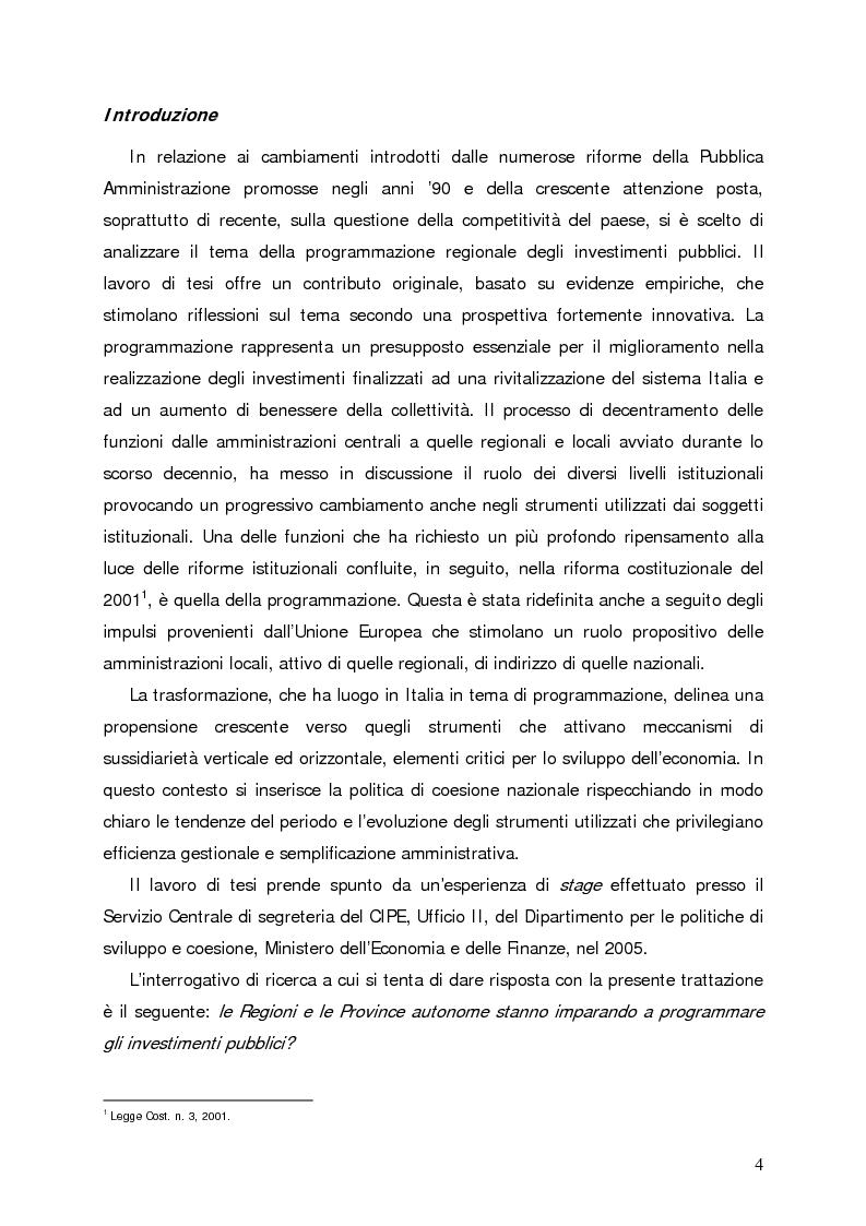 Anteprima della tesi: Accumulo di conoscenze nella programmazione regionale degli investimenti pubblici, Pagina 1