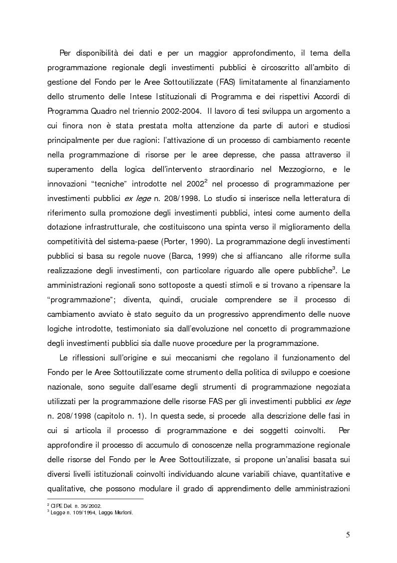 Anteprima della tesi: Accumulo di conoscenze nella programmazione regionale degli investimenti pubblici, Pagina 2