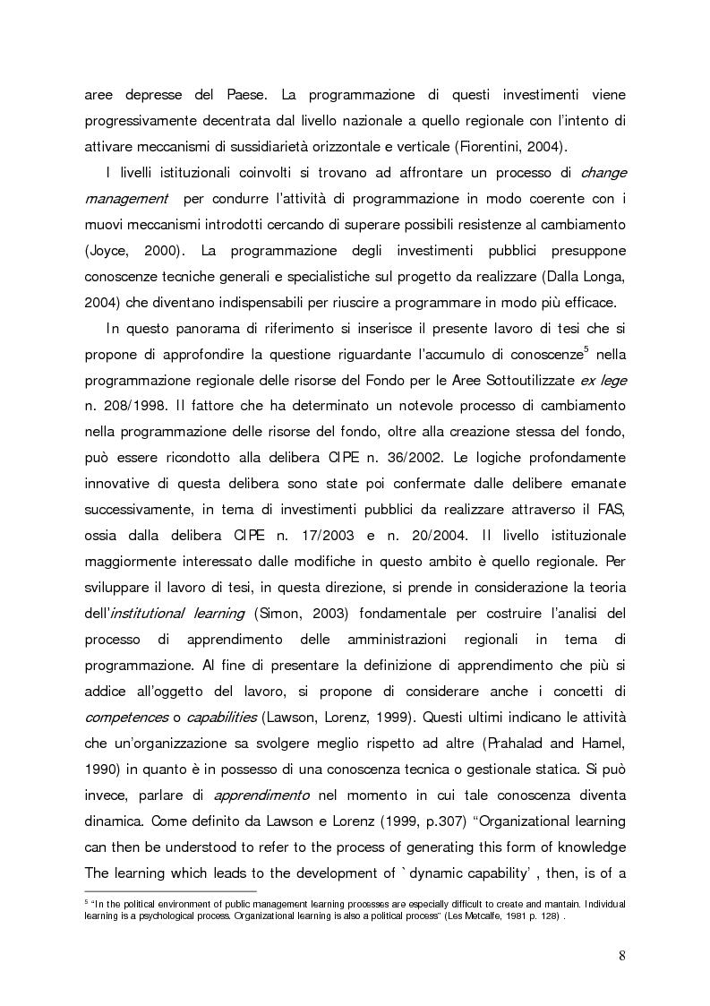 Anteprima della tesi: Accumulo di conoscenze nella programmazione regionale degli investimenti pubblici, Pagina 5