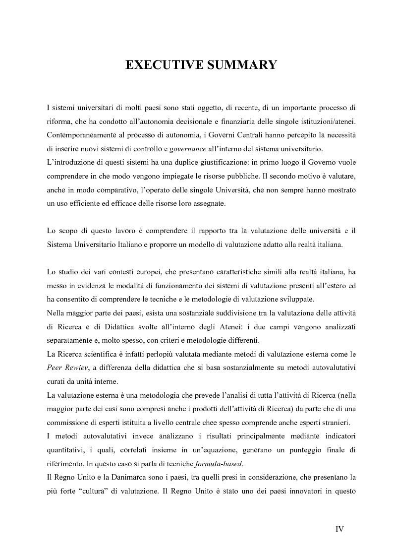 Anteprima della tesi: La valutazione del sistema universitario: un modello di analisi, Pagina 1
