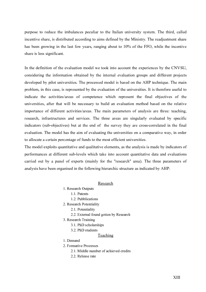 Anteprima della tesi: La valutazione del sistema universitario: un modello di analisi, Pagina 10