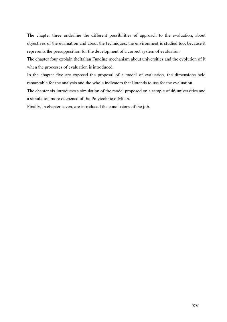 Anteprima della tesi: La valutazione del sistema universitario: un modello di analisi, Pagina 12