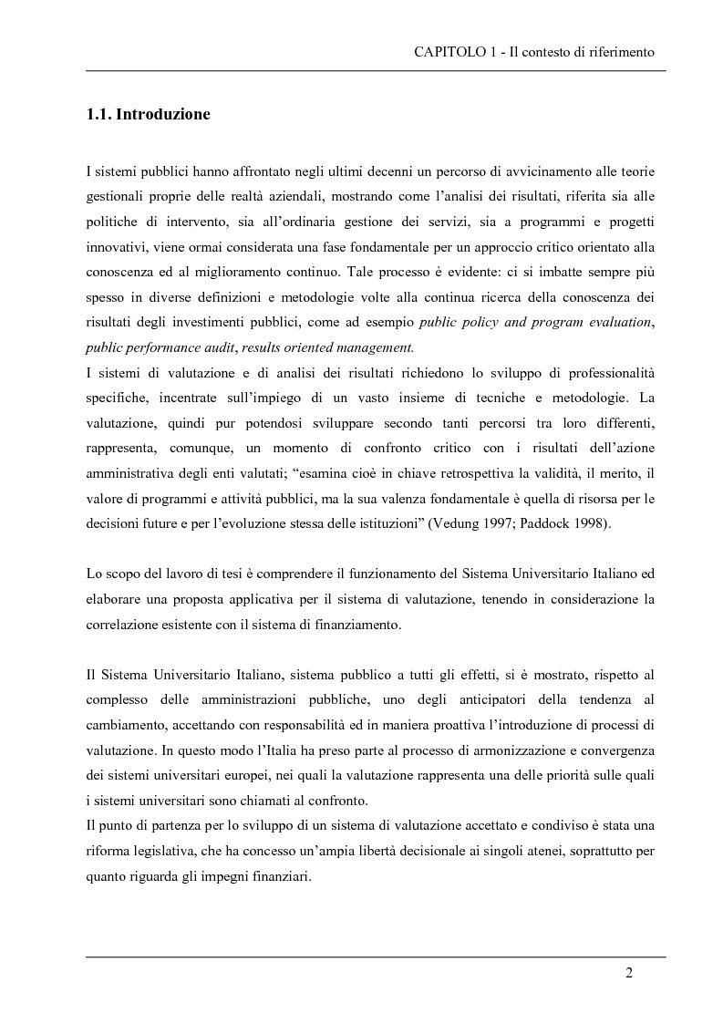 Anteprima della tesi: La valutazione del sistema universitario: un modello di analisi, Pagina 14