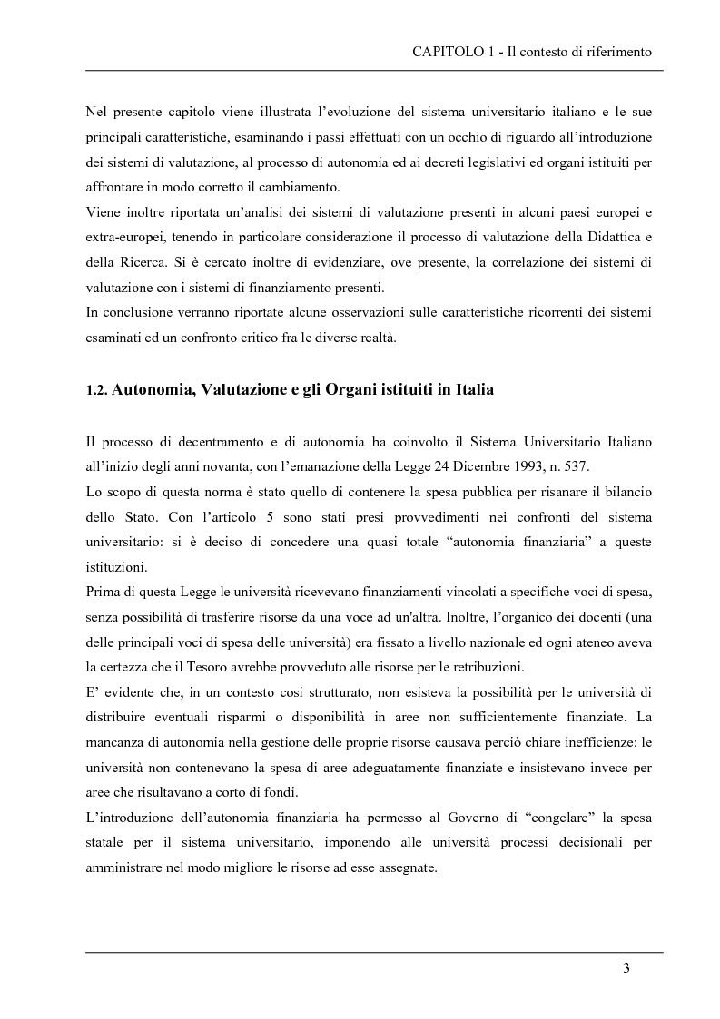 Anteprima della tesi: La valutazione del sistema universitario: un modello di analisi, Pagina 15