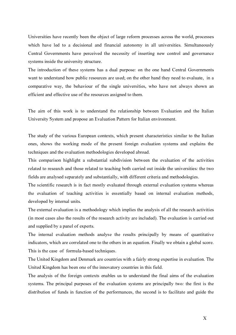 Anteprima della tesi: La valutazione del sistema universitario: un modello di analisi, Pagina 7