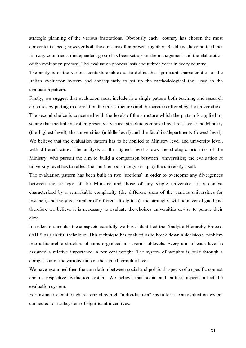 Anteprima della tesi: La valutazione del sistema universitario: un modello di analisi, Pagina 8