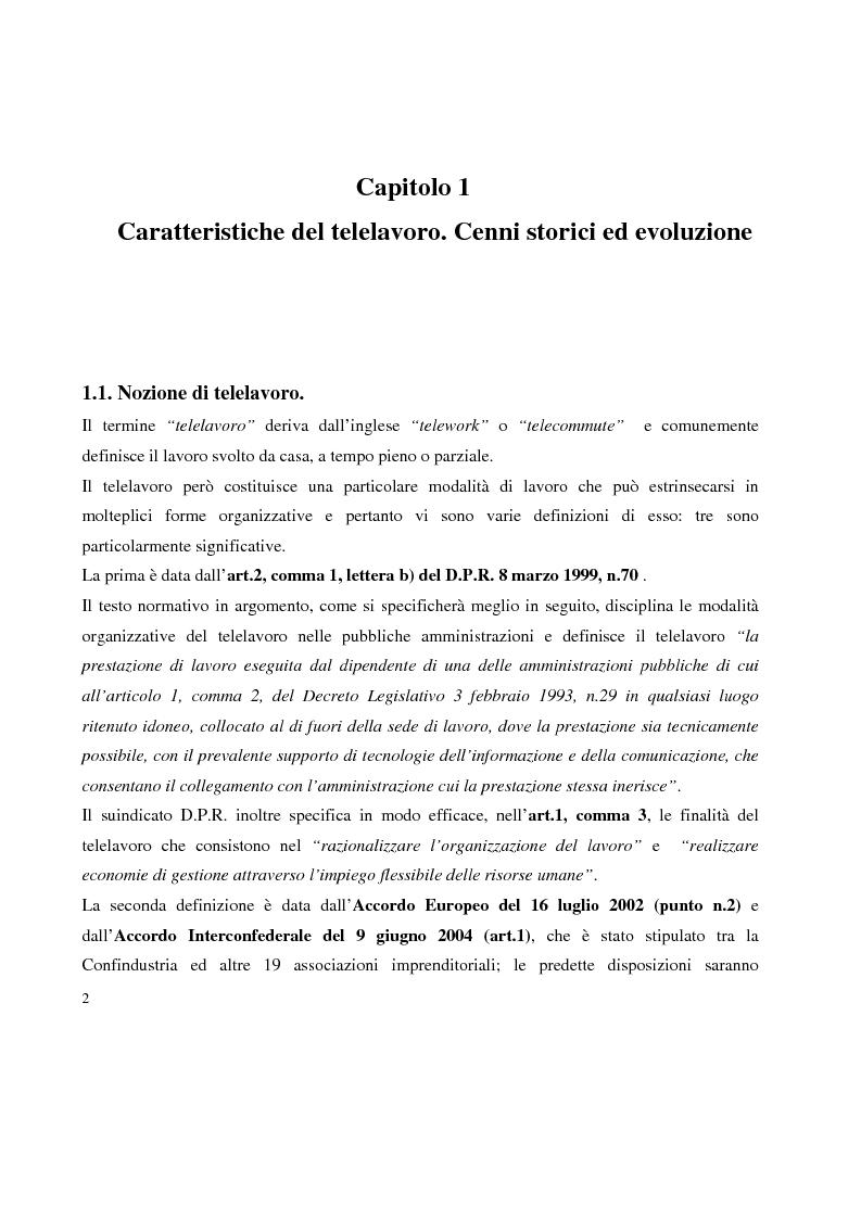 Anteprima della tesi: Problemi in tema di Telelavoro, Pagina 2