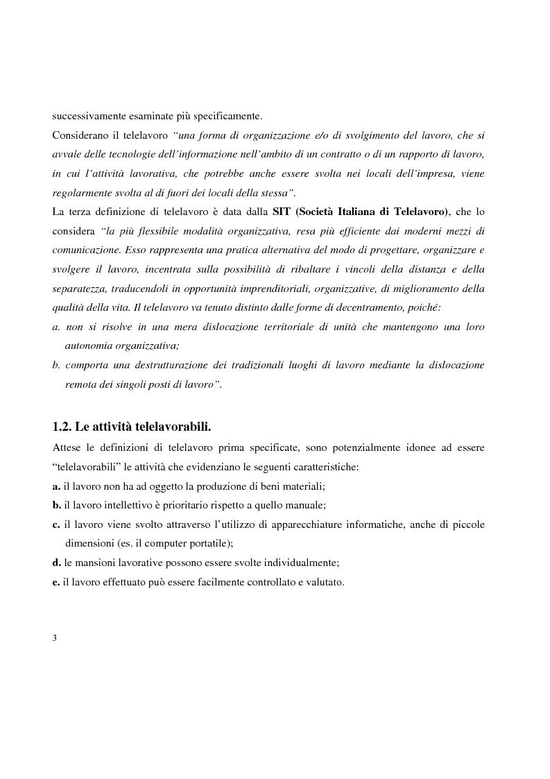 Anteprima della tesi: Problemi in tema di Telelavoro, Pagina 3