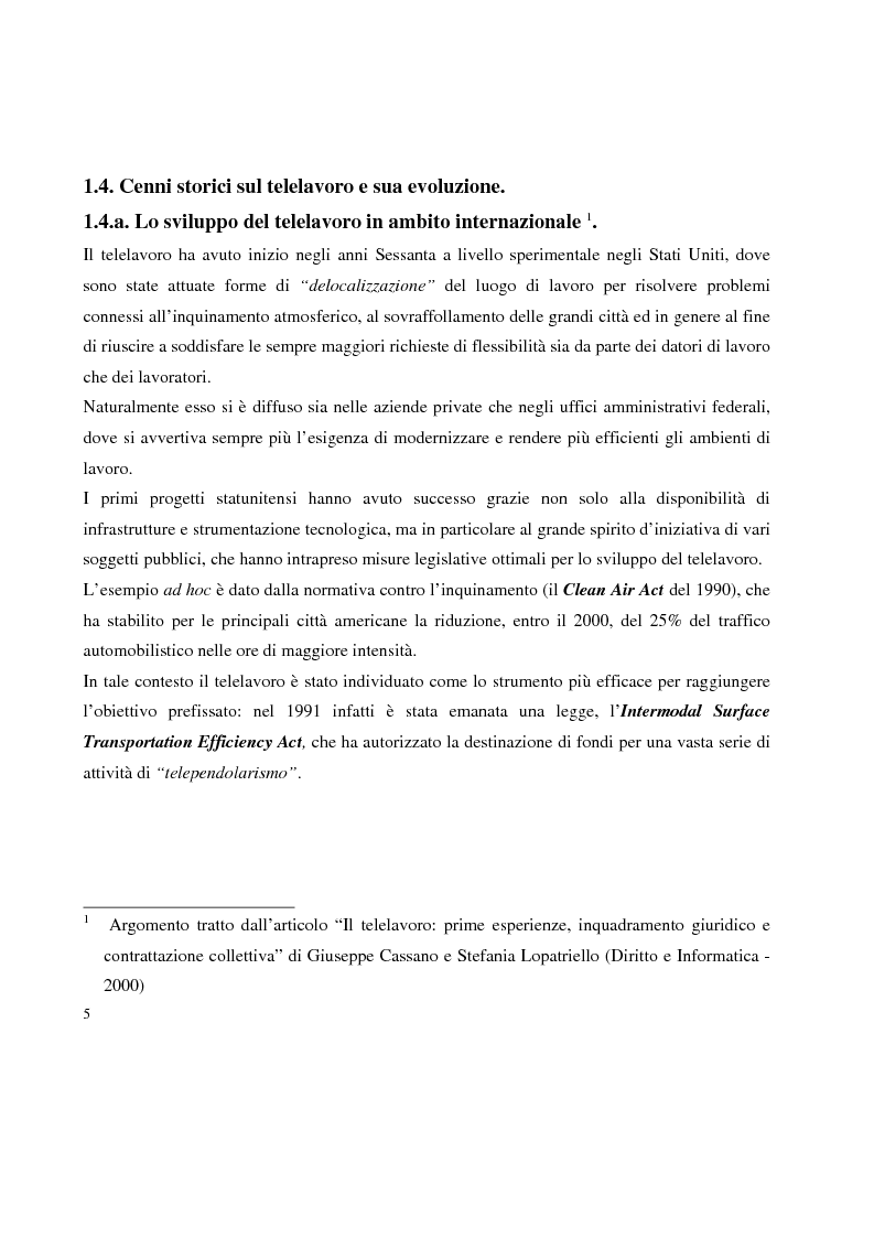 Anteprima della tesi: Problemi in tema di Telelavoro, Pagina 5