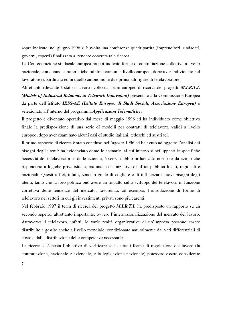 Anteprima della tesi: Problemi in tema di Telelavoro, Pagina 7