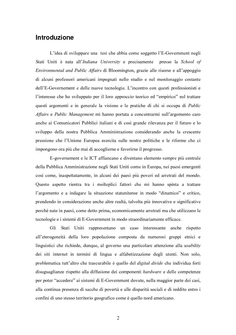 Anteprima della tesi: L'E-Government negli Stati Uniti d'America: dalla PA on line all'E-democracy, Pagina 1