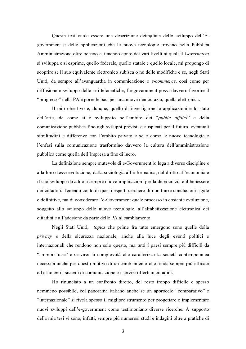 Anteprima della tesi: L'E-Government negli Stati Uniti d'America: dalla PA on line all'E-democracy, Pagina 2