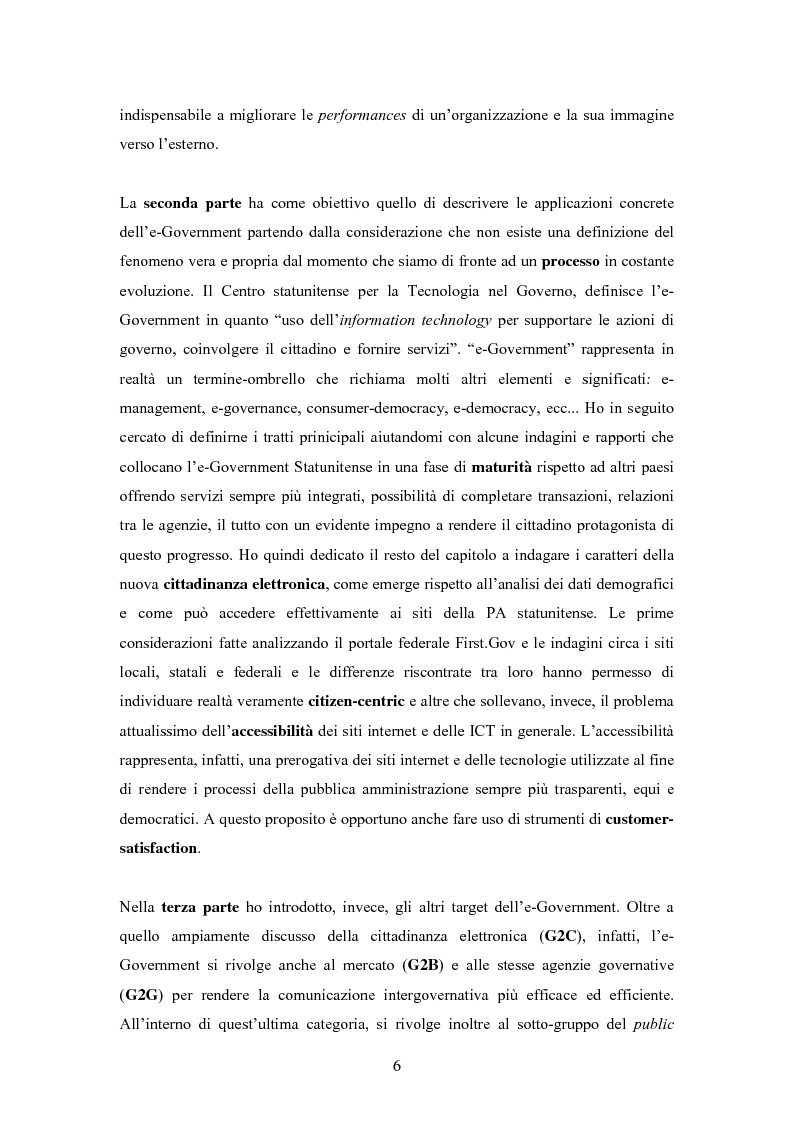 Anteprima della tesi: L'E-Government negli Stati Uniti d'America: dalla PA on line all'E-democracy, Pagina 5
