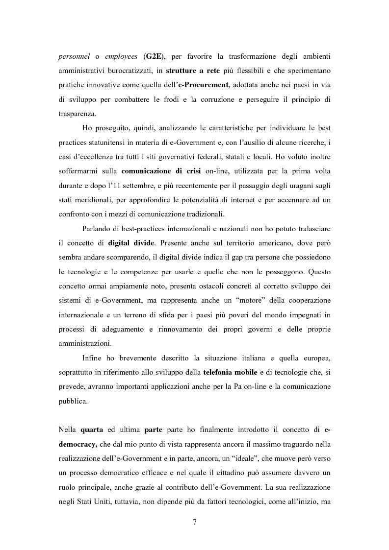 Anteprima della tesi: L'E-Government negli Stati Uniti d'America: dalla PA on line all'E-democracy, Pagina 6