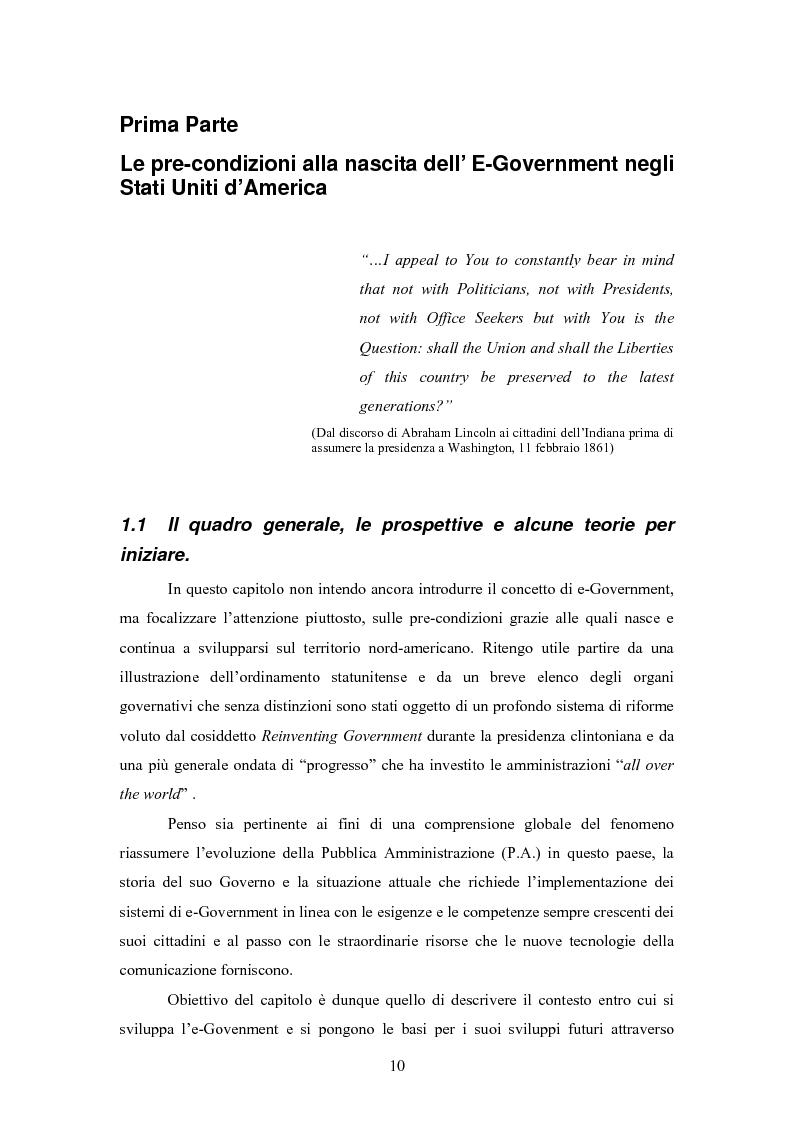 Anteprima della tesi: L'E-Government negli Stati Uniti d'America: dalla PA on line all'E-democracy, Pagina 9