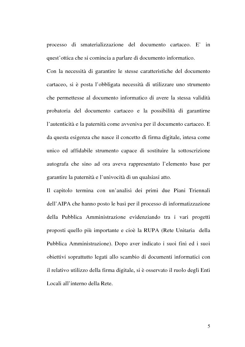 Anteprima della tesi: L'evoluzione della firma digitale: dal documento informatico all'amministrazione digitale, Pagina 3