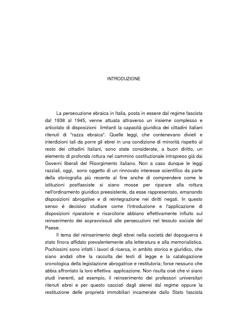 Anteprima della tesi: Il reinserimento dei perseguitati razziali nel secondo dopoguerra. L'itinerario della legge n. 96 del 10 marzo 1955, Pagina 1